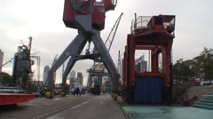 Rotterdam Port Crane Stock Footage