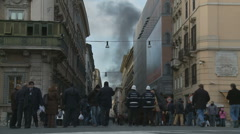 Rome on fire (Riots in Rome) - stock footage