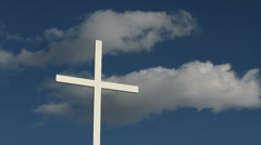 White Church Cross Stock Footage