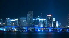 Time lapse of Miami skyline at night Stock Footage