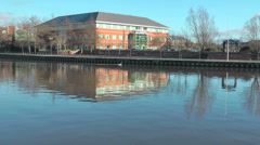Swan swims past modern office block with reflections in the river. - stock footage