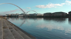 Urban River from steps at Rowing Club Stock Footage