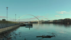 River Tees from pontoon at Water Sports Centre, Infinity Bridge, and University Stock Footage