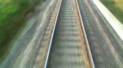 Railroad track at high speed Stock Footage