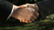 Business Handshake Closes the Deal Stock Footage