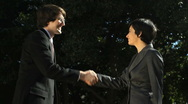 Business Man and Woman Handshake Stock Footage