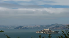 Stock Video Footage of Time lapse Alcatraz cloudy day