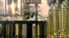 Sunflower oil in the bottle Stock Footage
