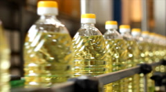 Sunflower oil in the bottle - stock footage