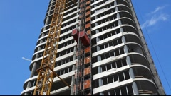 Elevator in construction site Stock Footage