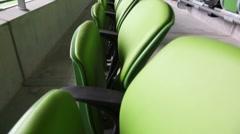 Green seats of the stadium Stock Footage