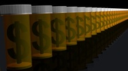 Stock Video Footage of Column of Medicine Bottles with Dollar Sign