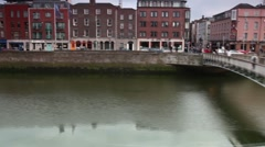 Moving along the river Liffey Stock Footage