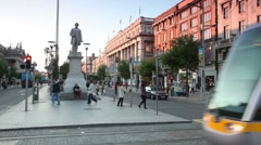 Tram crosses the O'Connell street - stock footage