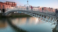 Stock Video Footage of The Ha'penny Bridge , known later for a time as the Penny Ha'penny Bridge