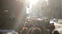 Large anonymous crowd NYC Stock Footage