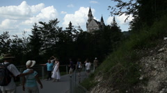 Neuschwanstein Castle with Tourists Stock Footage