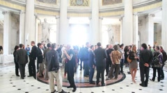 People discussing at a CEPIC in Dublin City Hall Stock Footage