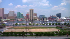 Baltimore Inner Harbor Federal Hill Stock Footage