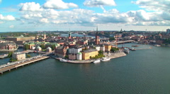 Stock Video Footage of Zoom aerial panorama of Stockholm, Sweden