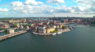 Zoom aerial panorama of Stockholm, Sweden Stock Footage