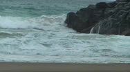Hippie Stares At Ocean Then Jogs Out Of Screen Stock Footage
