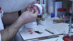 Manufacture of  Dental Prosthesis HD 1080p Stock Footage