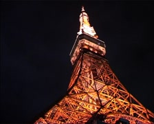 Tokyo Tower Night Whip on off GFSD Stock Footage