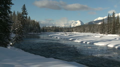 Winter scenic of the Kootenay River 03 Stock Footage
