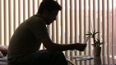 Man Reads Letter - stock footage