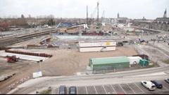 Spoorzone panorama Stock Footage
