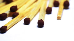 Wooden matches macro dolly shot Stock Footage