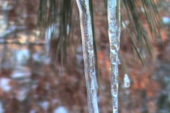 Two Icicles Extreme Close Up Stock Footage