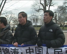 Protest of Chinese President's visit to White House in DC Stock Footage