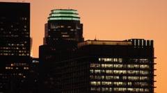 LA Skyline Golden hour CU 2 Stock Footage