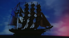 Old, large sailing ship at night - wide shot. Beautiful sky in background. - stock footage