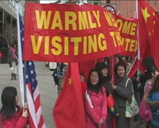 Supporters of Chinese President's visit to White House in DC Stock Footage