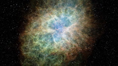 "Incredible Flight into the famous ""Crab"" Nebula - stock footage"