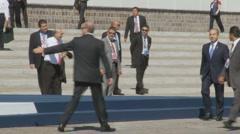 President of Mexico, Felipe Calderón, at the G8 Stock Footage
