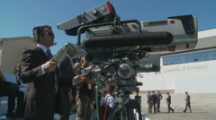 Cameraman at G8 summit Stock Footage