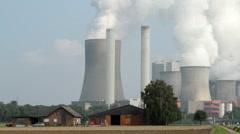 Niederaussem, Germany, with power station Stock Footage