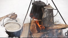 cooking on on bonfire - stock footage