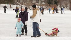 3 generations family  walks on winter background   Stock Footage
