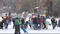 People at  winter community event Stock Footage