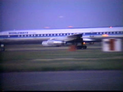 aircraft, 1987 archival, DC8 airplane takeoff run, Calgary - stock footage
