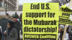 Mubarak/Egypt Protest in Washington, DC Stock Footage