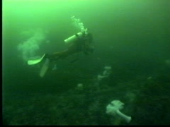 Drysuit scuba diver in cold water Stock Footage