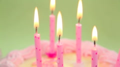 Close Up Blowing Out Candles Stock Footage