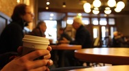 Stock Video Footage of Coffee Shop Coffee Addict
