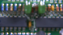 Electronic circuit board dolly back Stock Footage